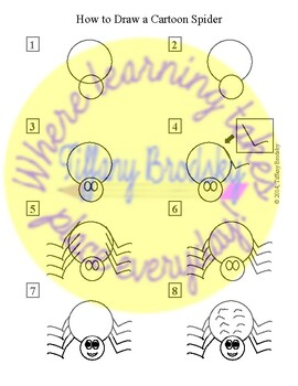 How to Draw a Cartoon Spider Picture Directions; Great for Elementary