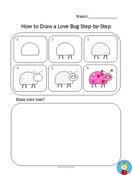 How to Draw a Love Bug Step-by-Step English and Spanish