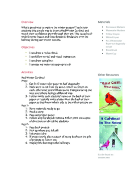 How to Draw a Red Winter Cardinal Lesson Plan Primary or Elementary age