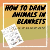 How to Draw a cute animal in an Op Art Blanket- Step-by-Step
