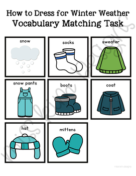 How to Dress for Winter Weather Vocabulary Folder Game for Special Education