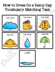 How to Dress on a Rainy Day Vocabulary Folder Game for Students with Autism