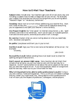 How to E-mail Teachers
