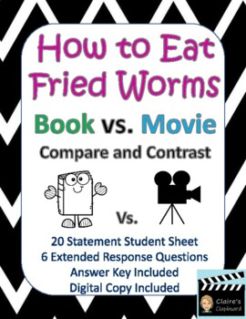 How to Eat Fried Worms Book vs. Movie Compare and Contrast