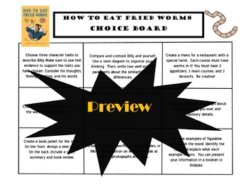 How to Eat Fried Worms Choice Board Novel Study Activities Book Project