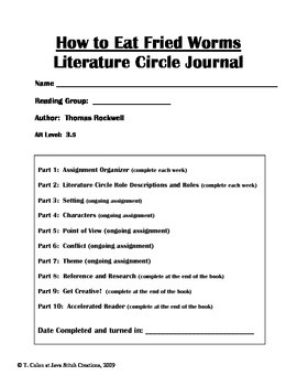 How to Eat Fried Worms Literature Journal Student Packet