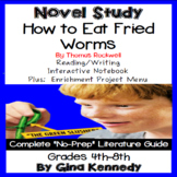 How to Eat Fried Worms Novel Study + Enrichment Project Menu