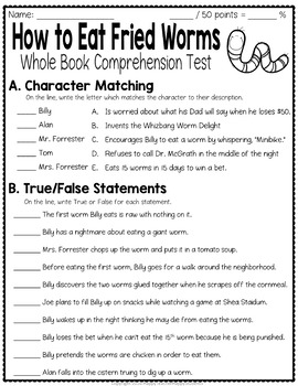 How to Eat Fried Worms Test: Final Book Test with Answer Key