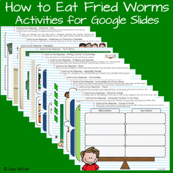 How to Eat Fried Worms Novel Study: vocabulary, chapter questions, writing