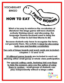 How to Eat Fried Worms Vocabulary Bingo