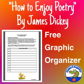 How to Enjoy Poetry by James Dickey Organizational Chart - FREE