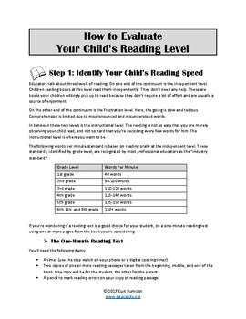 How to Evaluate a Child's Reading Level
