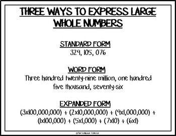 How to Express Large Whole Numbers Reference Sheets - Standard/Word/Expanded