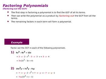 How to Factor Polynomials (Presentation and Handout)
