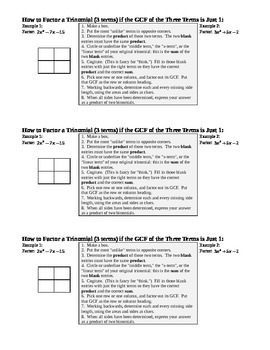 How to Factor a Trinomial if the GCF of the Three Terms is Just 1 Spring 2014