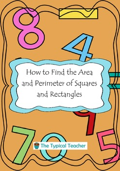 How to Find Area and Perimeter Square Rectangle Work Book sheets