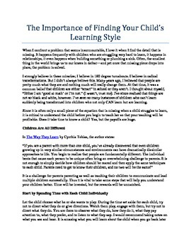 How to Find Your Child's Learning Style