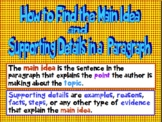 How to Find the Main Idea and Supporting Details in a Paragraph Grades 2-5