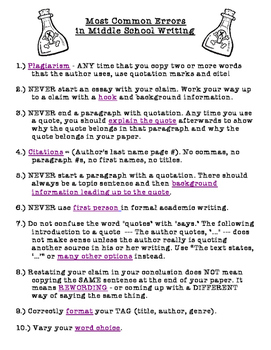 How to Fix the Most Common Errors in Middle School Writing