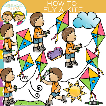 How to Fly a Kite Clip Art {Sequencing and Spring Clip Art}