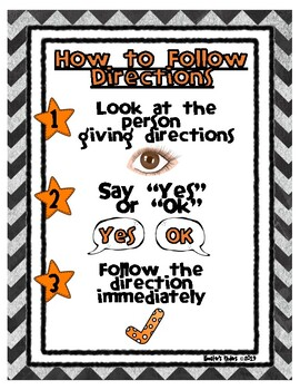 How to Follow Directions Poster