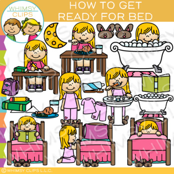 How to Get Ready for Bed: Sequencing and Routines Clip Art