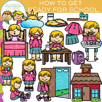 How to Get Ready for School: Sequencing and Routines Clip Art