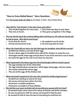 """""""How to Grow Boiled Beans"""" story questions"""