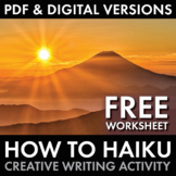 How to Haiku, Japanese 5-7-5 Poetry Form Worksheet for Grades 5-12, FREE