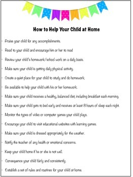 How to Help Your Child at Home: (Open House Handout)