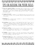 How to Improve Fine Motor Skills:  Parent Handout