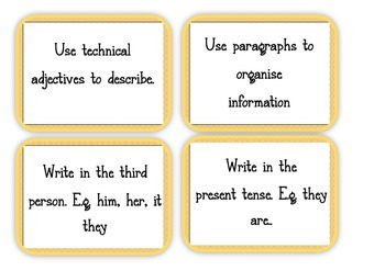 Writing an Information Report {Posters, Labels and Rubric}