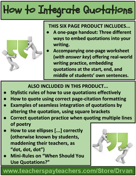 How to Integrate Quotations in Your Writing (Handouts & Worksheet)