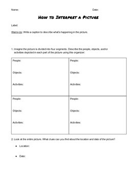 """""""How to Interpret a Picture"""" Source Analysis Form"""