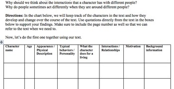 How to Keep Track of Characters & Character Change - Lesson Plan & Handout