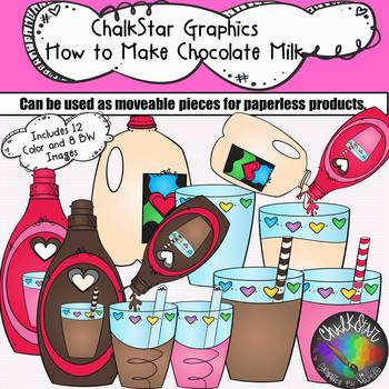 How to Make Chocolate and Strawberry Milk Clip Art- Chalkstar Graphics