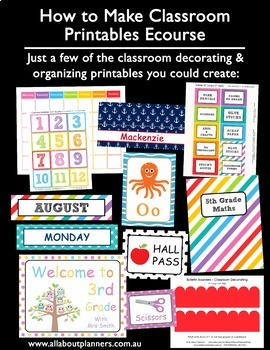 How to Make Classroom Decorating Printables Ecourse