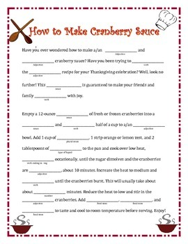 How to Make Cranberry Sauce: A Thanksgiving Madlib
