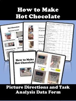 How to Make Hot Chocolate Visual Directions, Picture Cues, and Data Sheet