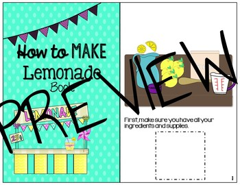 How to Make Lemonade Interactive book & black and white mini book Sequence