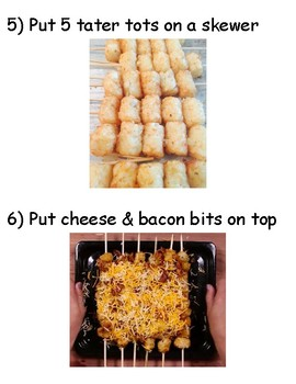 VISUAL RECIPE: How to Make Loaded Tater Tot Skewers (Life Skills Lesson)