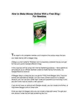 How to Make Money Online with a Free Blogger Blog