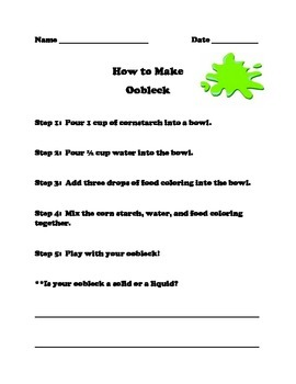 How to Make Oobleck - Matter or Earth's Layers Unit