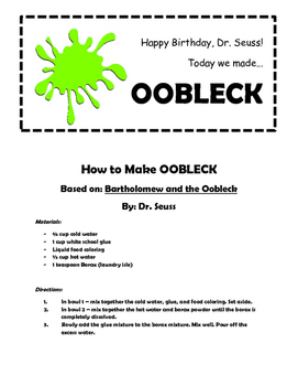 How to Make Oobleck (Slime)