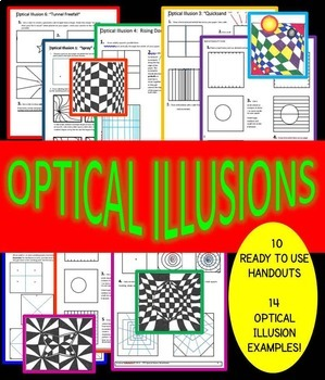 Distance Learning! 10 Optical Illusions! Step-by-Step Handouts with Examples!