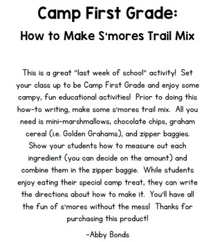 How to Make S'mores Writing Activity