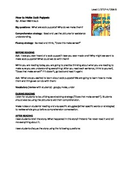 how to make sock puppets guided reading lesson plan level e by