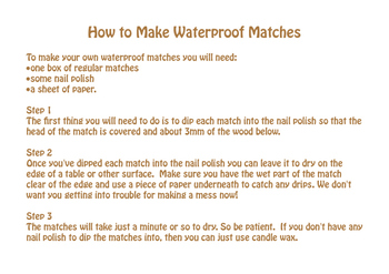 How to Make Waterproof Matches
