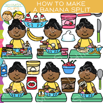 How to Make a Banana Split: Dessert and Sequencing Clip Art