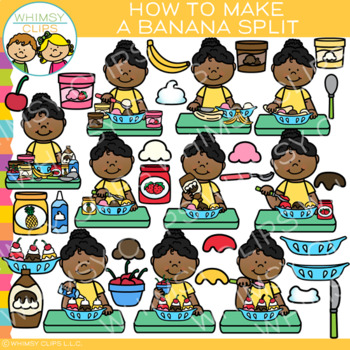 How to Make a Banana Split Clip Art { Dessert and Sequencing Clip Art}